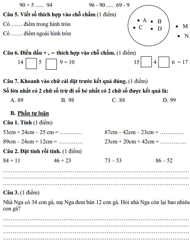 Đề kiểm tra cuối năm môn Toán lớp 1 tiểu học Tân Lập 2017-2018-1