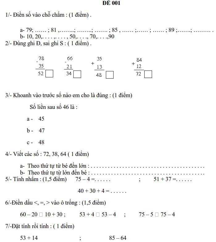 30 đề thi HK2 môn Toán lớp 1 có đáp án