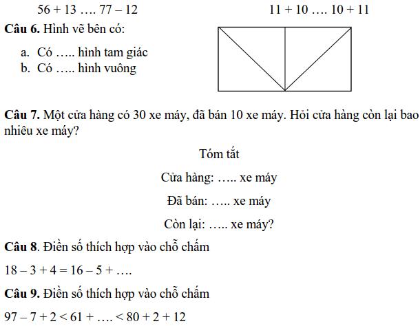 Đề kiểm tra cuối HK2 môn Toán lớp 1 tiểu học Trần Quốc Toản 2017-2018-1