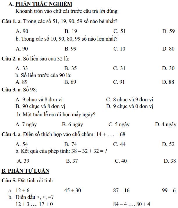 Đề kiểm tra cuối HK2 môn Toán lớp 1 tiểu học Trần Quốc Toản 2017-2018