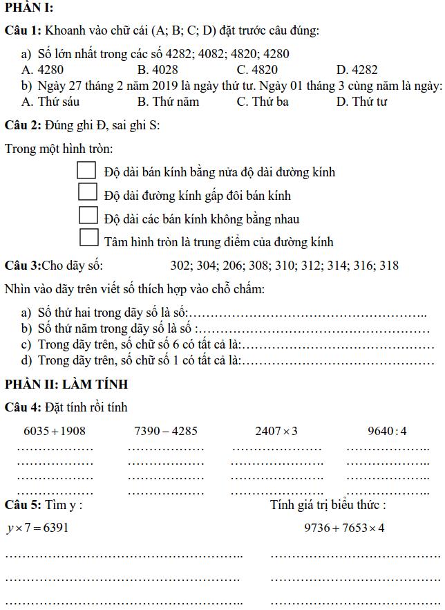 Đề kiểm tra giữa HK2 môn Toán lớp 3 tiểu học Chu Văn An 2016-2017