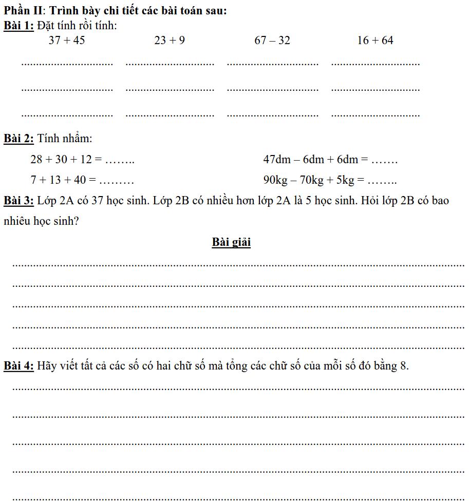 Bài ôn tập giữa HK1 số 1 Toán lớp 2 tiểu học Đoàn Thị Điểm-1