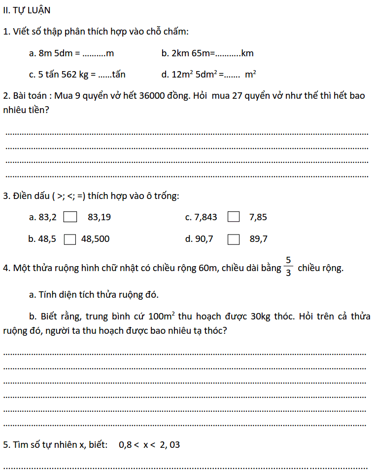 Đề ôn tập HK1 môn Toán 5 năm 2019-2020 số 1-1