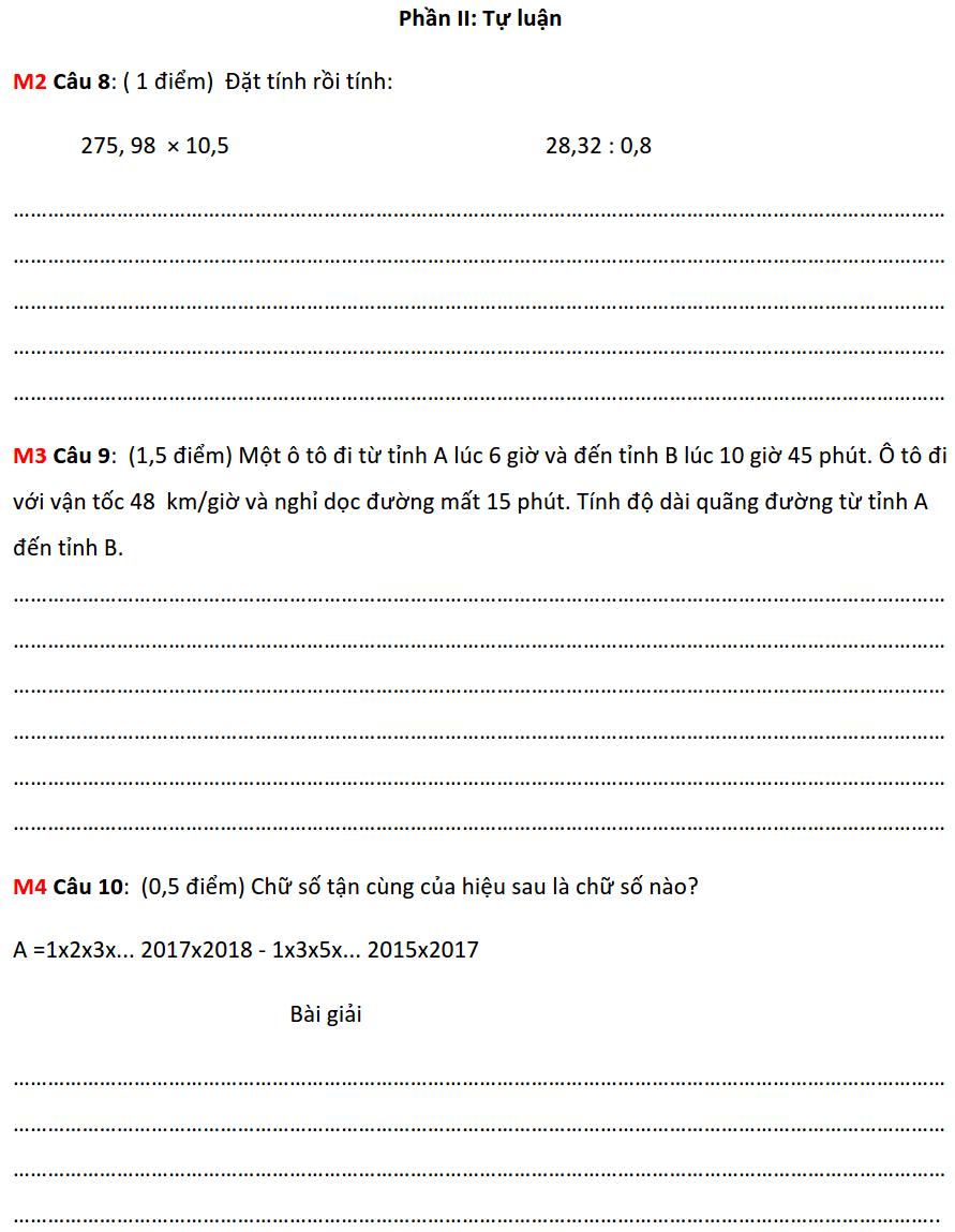 Đề ôn tập HK2 môn Toán 5 năm 2019-2020 số 1-1